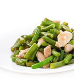 Green beans with chicken Royalty Free Stock Photography