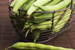 Green beans close up. Green beans in basket, close up Stock Photos