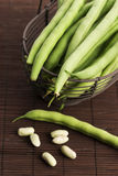 Green beans close up. Green beans in basket, close up Stock Images