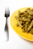 Green Beans with Fork Stock Images