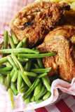 Green beans and fried chicken Royalty Free Stock Photography
