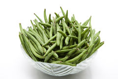 Green beans in the glass bowl Stock Photos