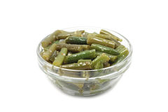 Green beans in a glass container Stock Photo