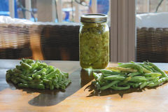 Green Beans. Half white runner green beans, snapped and canned Royalty Free Stock Images