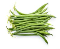 Green beans isolated on a white background. Clipping path. Green beans isolated on a white background royalty free stock images