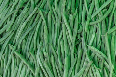 Green beans. On market bench. Close up view Royalty Free Stock Photo