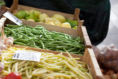 Green beans market Stock Photos