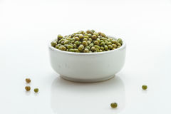 The green beans (Moong whole) on white background for decorae pr Royalty Free Stock Photos