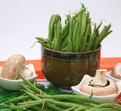 Green beans and mushrooms Stock Photo