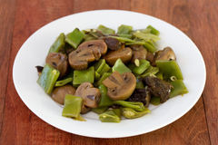 Green beans with mushrooms Stock Photos