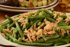 Green beans with onions Stock Photography