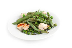 Green beans and peas with fried chicken Royalty Free Stock Photography