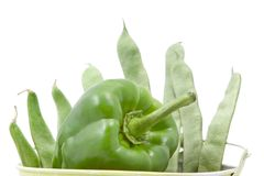 Green beans and peppers Stock Photography