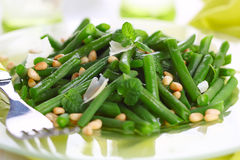 Green beans with pine nuts Royalty Free Stock Photo