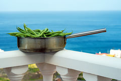 Green beans, raw in a pan Stock Photography