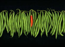 Green Beans Red Chili Pepper Royalty Free Stock Image