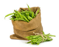 Green beans in a sack Royalty Free Stock Images