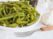 Green Beans Salad at Dinner. Green Beans Salad with fork at Dinner royalty free stock photo