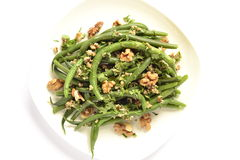 Green beans salad with walnuts Stock Photos