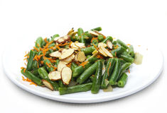 Green beans saute with almonds Royalty Free Stock Images