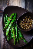 Green beans in sesame Asian sauce Stock Photography