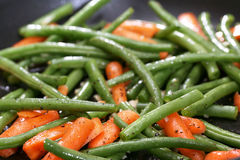 Green beans in skillet Stock Image