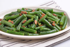 Green beans with soys. In plate. Good for health. Vegetarian food Stock Photography