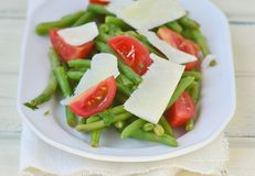 Green beans, tomato and cheese salad .. Stock Photos