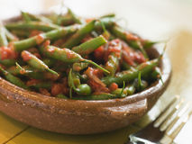 Green Beans with a Tomato Salsa.  stock images