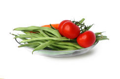 Green beans and tomatoes Royalty Free Stock Photography