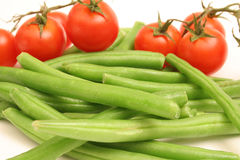Green beans & tomatoes Stock Photo