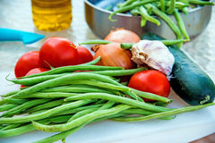 Green beans ,tomatoes and garlic Stock Images