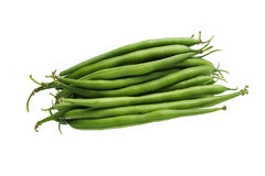 Green beans on white background. Fresh green beans against white background Royalty Free Stock Photo