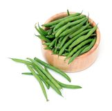 Green beans in wooden Stock Photography