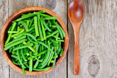 Green Beans in Wooden Bowl. Studio Photo Stock Photo