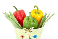 Green beans with yellow, green and red peppers Stock Photos
