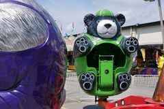 Green Bear Fun Ride at Indiana State Fair 2018 stock photo