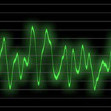 Green beats. Electronic music beats in an oscilliscope glowing neon green. tiles seamlessly for longer beat patterns Royalty Free Stock Image