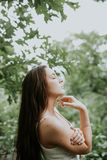 Green, Beauty, Girl, Grass Royalty Free Stock Images