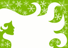 Green beauty woman hair snow flakes. Green Christmas woman hair beauty tag with floating snow flakes Stock Images