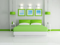 Green bedroom Stock Images