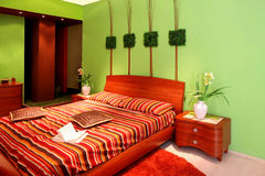 Green bedroom angle Royalty Free Stock Images