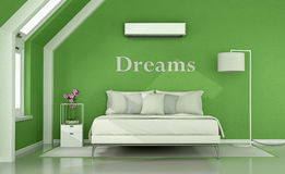 Green bedroom in the attic Stock Image