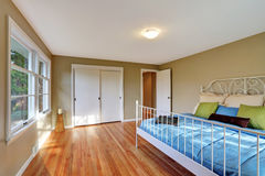 Green bedroom interior with hardwood floor and iron bed. Stock Photos