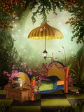 Green bedroom with roses. Fantasy bedroom with yellow roses and pink flowers Stock Photo