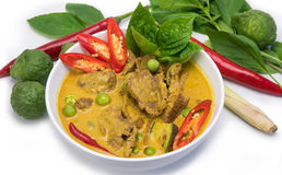 Green beef Curry dish , Thai cuisine on white backgrond Royalty Free Stock Photography