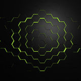 Green Beehive. 3D render of technology beehive Stock Image