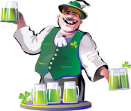 Green beer and bartender on St.Patrick�s Day Royalty Free Stock Photo