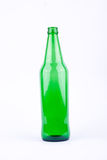 Green beer bottle for beer beverage party on white background drink isolated Royalty Free Stock Images