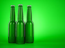 Green Beer bottle brown no label. 3d render Stock Photography